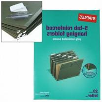 20 Staples 5-Tab Hanging File Folders Letter Size Paper