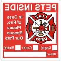 20 Pets Inside Red Safety Alert Warning Window Door Stickers