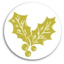 Golden Holly Christmas Seals - 200 pack