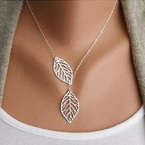 Aukmla Chic Leaf Shaped Chain Jewelry Necklaces for Women