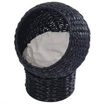 Pawhut 21 Hooded Rattan Wicker Elevated Cat Bed - Black/