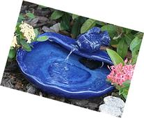Smart Solar 21372R01 Ceramic Solar Koi Fountain, Blue Glazed