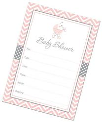 24 Cnt Pink Carriage Baby Fill-in Baby Shower Invitations