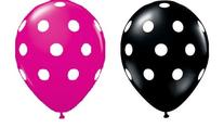 24 Assorted Balloons - Black with White Polka Dots and Berry
