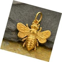 Real Gold Bee Charm . 24k Gold Bumble Bee . Honey Bee Charm