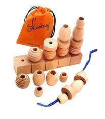 25 Natural Wood Blocks Lacing Beads by Skoolzy - Montessori