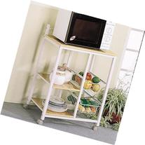 2506 White & Natural Microwave Cart on Casters by Coaster