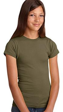 LAT Apparel Girls 100% Cotton Fine Jersey Tee with Ribbed