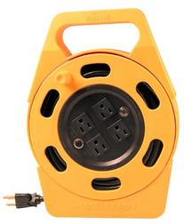Woods 2801 Extension Cord Reel With Four 3-Prong Power