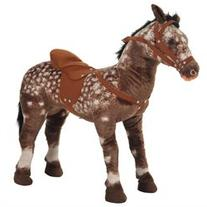 Qaba 29 Plush Standing Horse Toy with Sound - Light Brown/