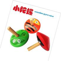 2PCS Funny Wood spinning top toy Mini Gyro toy children's