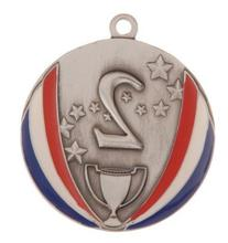 2nd Place Silver Stars and Stripes Die Cast Medal with Red,