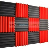2x12x12  RED/CHARCOAL Acoustic Wedge Soundproofing Studio