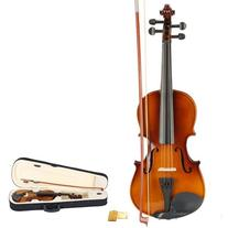 3/4 Size Natural Acoustic Violin with Hard Case, Bow, Rosin