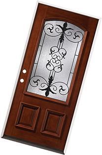 3/4 Arch Mahogany Wood Entry Door #54