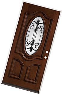 3/4 Oval Mahogany Wood Entry Door #51, Left Hand