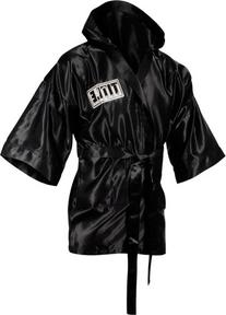 TITLE Boxing 3/4 Length Stock Satin Robe, Black, Medium