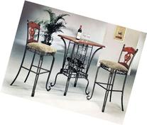 3 PIECE BAR TABLE SET WITH WINE RACK BASE - Bar Table and 2