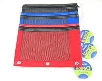 3 Pk, Bazic Pencil Pouch with Mesh Window-3-ring, Boys