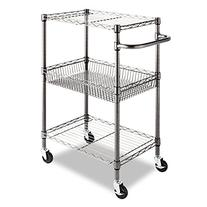 Alera 3-Tier Wire Rolling Cart, 16 by 26 by 39-Inch, Black