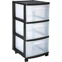 Sterilite 3 Drawer Cart- Black