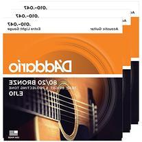3 Packs of D'Addario EJ10 Bronze Acoustic Guitar Strings,