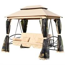 Outsunny Outdoor 3 Person Patio Daybed Canopy Gazebo Swing