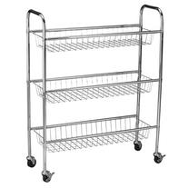 Household Essentials 3-Tier Storage Cart, Chrome, 33 by 26