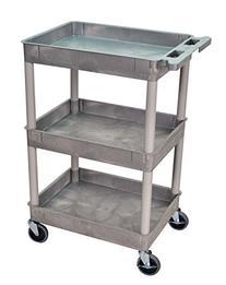 Luxor/H.Wilson 3 Tub Shelf Utility Cart, Gray