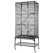 32x18x69 in 3-Story Cockatiel Parrot Bird Cage Stand Black
