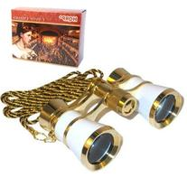 HQRP 3 x 25 Opera Glasses Binocular White pearl with Gold