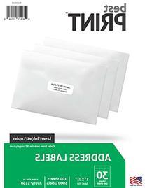 "30 Up - Best Print Address Labels - 1"" x 2-5/8"", 3,000"
