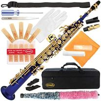 300-BU-BLUE/GOLD Keys Bb STRAIGHT SOPRANO Saxophone Sax Lazarro+11 Reeds,Care Kit~22 COLORS~SILVER or GOLD KEYS~CHOOSE YOURS