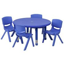 Flash Furniture 33'' Round Blue Plastic Height Adjustable