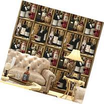 3361-Vinyl Retro Vintage Wine Cabinet Kitchen Wallpaper for