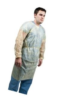 Grafco 3806 Polypropylene Isolation Gown, Yellow, Box of 10