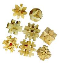 Super More Set of 8 3D Wooden Cube Brain Teaser Puzzle