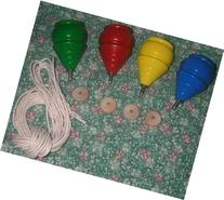 4 Classic WOODEN TOY SPINNING TOPS with Strings