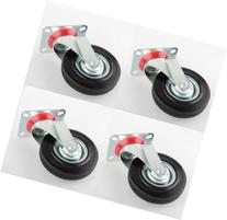 "4 Pack 5"" Swivel Casters Rubber Wheels Steel Top Plate Ball"