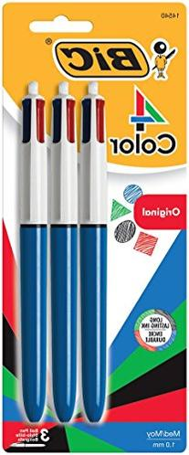 BIC 4-Color Ball Pen, Medium Point , Assorted Ink, 3-Count