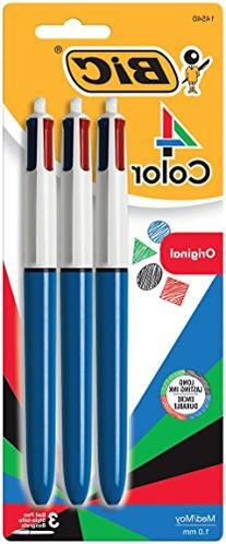 BIC 4-Color Ballpoint Pen, Medium Point , Assorted Inks, 3-