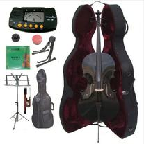 Merano 4/4 Full Size Black Cello with Hard Case with Bag and