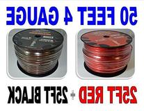 4 Gauge 25' BLACK and 25' RED Car Audio Power Ground Wire