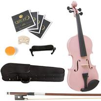 Mendini 4/4 MV-Pink Solid Wood Violin with Hard Case,