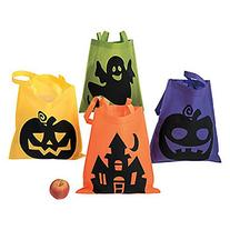4 Large Neon HALLOWEEN Trick or Treat TOTES/BAGS/PARTY