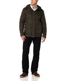 Dockers Men's 4 Pocket Field Hoody Coat, Olive, Small