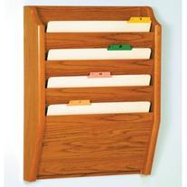 Wooden Mallet 4-Pocket File Holder, Legal Size, Medium Oak