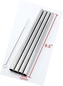"""4 Stainless Steel Straws Big Straw Extra Wide 1/2"""" x 9.5"""""""