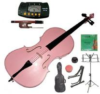 Merano 4/4 Full Size Pink Student Cello with Bag and Bow+2