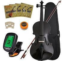 Crescent 4/4 Full Size Student Violin Starter Kit, Black